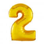 Воздушный шар (40''/102 см) Цифра, 2, Золото,